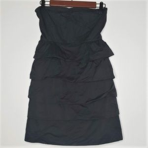 J. Crew black strapless tier dress size 0